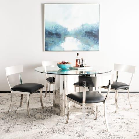 "SAFAVIEH Dining Abby Glam Black/ Silver Chrome Dining Chair (Set of 2) - 18.5"" x 21.9"" x 33.3"""
