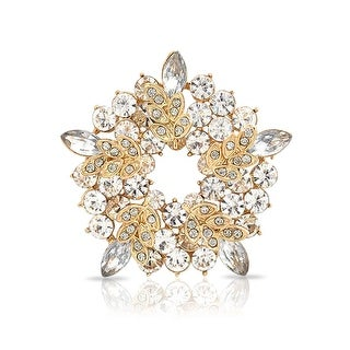 Bling Jewelry Gold Plated Leaf Brooch Clear Crystal Wreath Pin