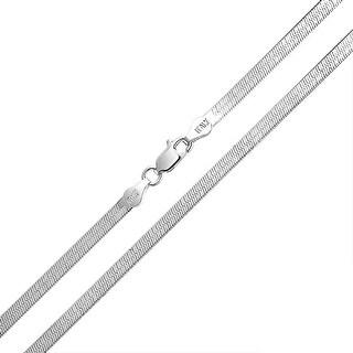 Bling Jewelry Unisex .925 Silver Flat Herringbone Chain Necklace 040 Gauge