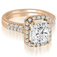 1.06 cttw. 14K Rose Gold Emerald And Round Cut Halo Diamond Bridal Set,HI,SI1-2