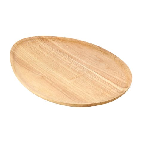 Handmade Eco-friendly Oval-Shaped Brown Rain Tree Wooden Serving Tray Platter (Thailand)