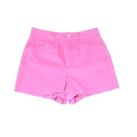 Topshop Pink Womens Size 6 Cutoff Button-Front Denim Mom Shorts