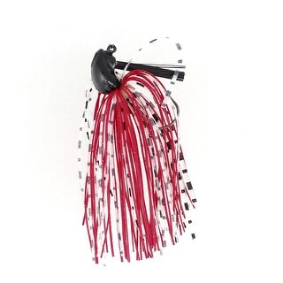 "Unique Bargains 3.1"" Rubber Beard Lead Metal Rubber White Red Fishing Lure Fish Bait 0.4oz"