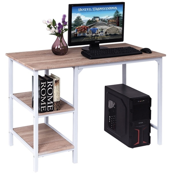 5b60344f00b76 Costway Computer Desk PC Laptop Table Workstation Study Writing with  Shelves Home Office