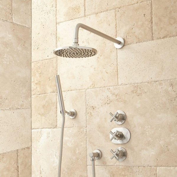 Signature Hardware 925945 Callas Thermostatic Shower System With Rainfall Head And Hand Rough