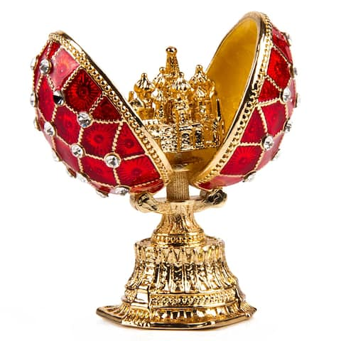 Red Netting Faberge Egg / Jewelry Trinket Box w/ St. Basil's Cathedral