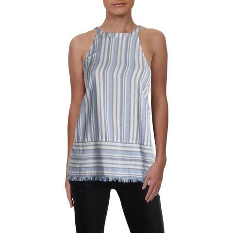 Bella Dahl Womens Halter Top Linen Striped - L