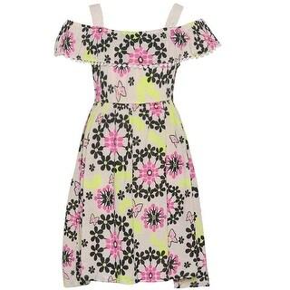 Girls Pink Black Butterfly Floral Print Off-Shoulder Casual Dress