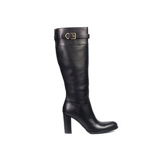 Car Shoe By Prada Black Leather Buckled Knee High Boots