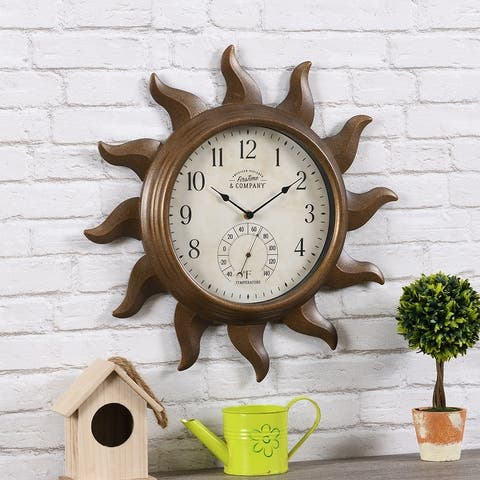 FirsTime & Co.® Sundeck Outdoor Clock, American Crafted, Aged Copper, Metal, 19 x 1.75 x 19 in - 19 x 1.75 x 19 in