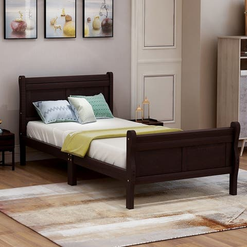 Nestfair Twin Wood Platform Bed with Headboard, Footboard and Slat