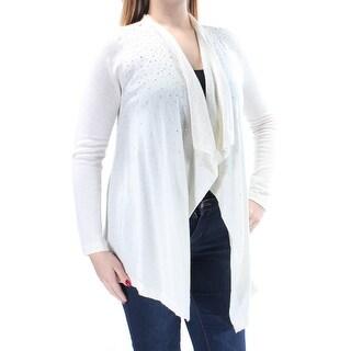Womens Ivory Long Sleeve Open Trapeze Sweater Size L