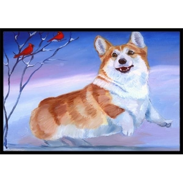 Carolines Treasures 7328MAT Corgi Snow Cardinal Indoor & Outdoor Mat 18 x 27 in.