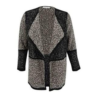 Calvin Klein Women's Plus Size Marled Colorblock Sweater Jacket (0X, Black/White) - BLACK/WHITE - 0X