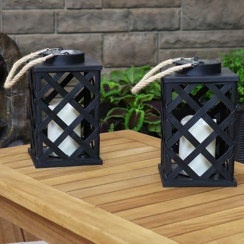 Sunnydaze Modern Crosshatch Solar LED Decorative Lantern - 2-Pack - 9-Inch - 2