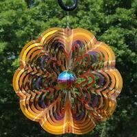 Sunnydaze 12 Inch Reflective Gold Dust 3D Whirligig Wind Spinner