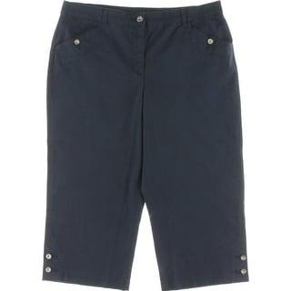 Karen Scott Womens Capri Pants Button Detail Slimming Fit