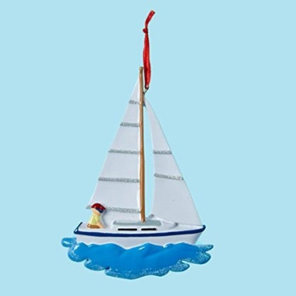 "5"" Seaside Escape White and Blue Sailboat Christmas Ornament"