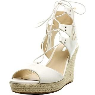 Guess Lamba3 Women Open Toe Leather White Wedge Sandal