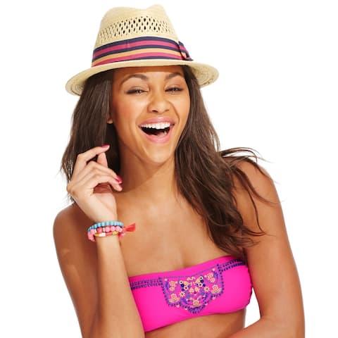Hobie Juniors' Embellished Bandeau Bikini Top, Pink, XS