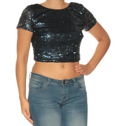 ADRIANNA PAPELL Womens Navy Sequined Short Sleeve Jewel Neck Crop Top Party Top Size: 6