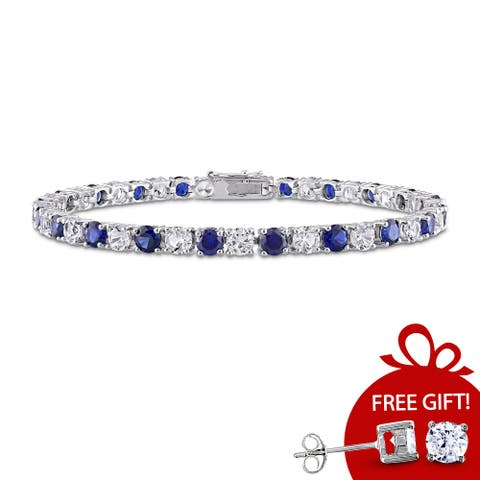 Miadora Sterling Silver Created Blue and White Sapphire Patterned Birthstone Tennis Bracelet - 7.25 in x 4.3 mm x 2.7 mm
