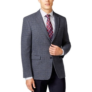 Tommy Hilfiger Ethan Grey Blue Wool Houndstooth Sportcoat Blazer 42 Regular 42R