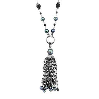 Honora Grey Freshwater Pearl Tassel Necklace with Onyx & Hematite in Sterling Silver