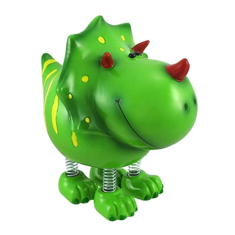 Smiling Green Triceratops Dinosaur with Spring Legs Children`s Coin Bank