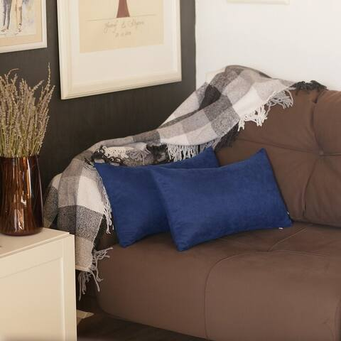 Solid Color Decorative Lumbar Throw Pillow Covers (2 pcs in set)