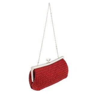 Scheilan Red Fabric Weave Knot Clutch/Shoulder Bag