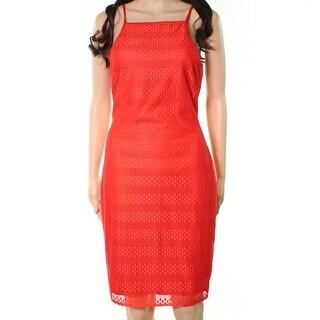 bebe Womens Square-Neck Geometric-Lace Sheath Dress