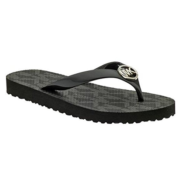 Michael Kors Jet Set Rubber PVC Women Flip Flops Sandals - Black