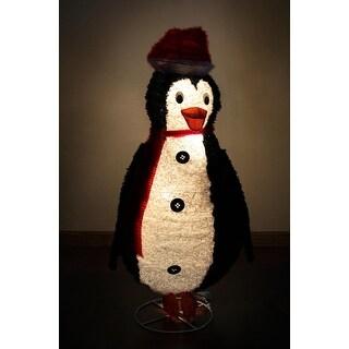 "48"" Lighted Sparkling Tinsel and Sisal Penguin Christmas Yard Art Decoration"