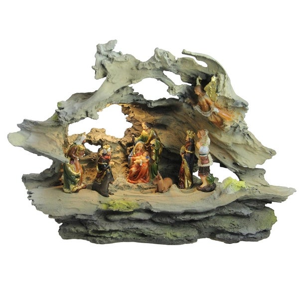 "16"" LED Lighted Faux Driftwood Religious Nativity Scene Christmas Decoration - multi"