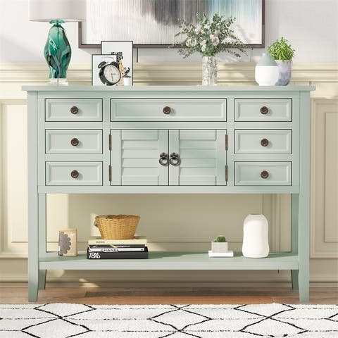 Merax 45'' Console Table with 7 Drawers, 1 Cabinet and 1 Shelf