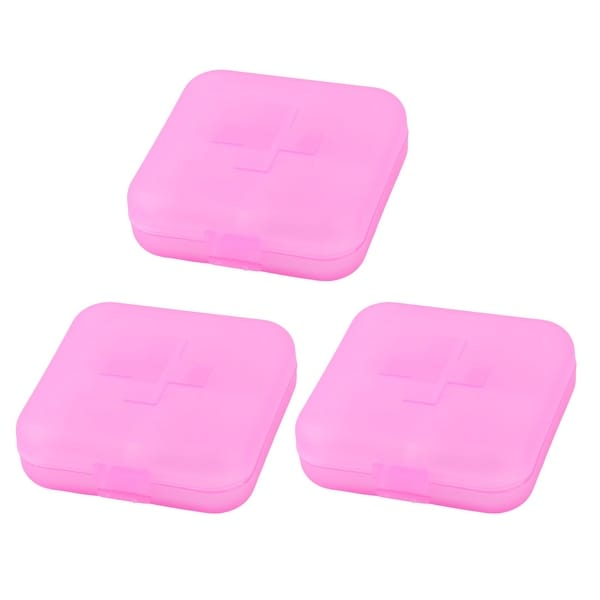 Hiking Plastic 4 Compartments Medicine Pill Holder Storage Box Case Pink 3pcs
