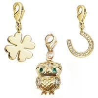 Julieta Jewelry Owl, Clover, Horseshoe 14k Gold Over Sterling Silver Clip-On Charm Set