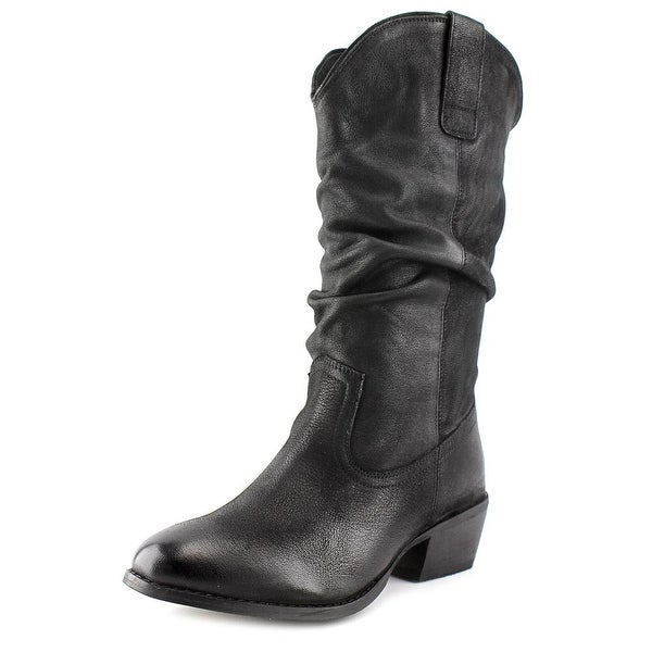 Naughty Monkey Shavano Women Round Toe Leather Black Mid Calf Boot