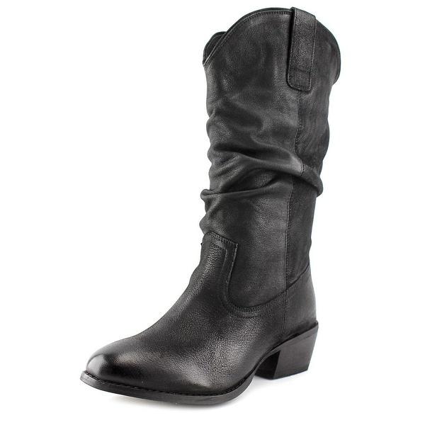Naughty Monkey Shavano Women  Round Toe Leather Black Mid Calf Boot