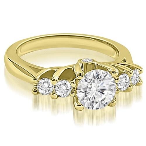 1.10 cttw. 14K Yellow Gold Exquisite Trellis Round Diamond Engagement Ring