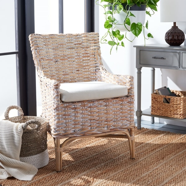"""Safavieh Cristen Rattan Accent Chair with Cushion - 24"""" W x 27.6"""" L x 35"""" H. Opens flyout."""