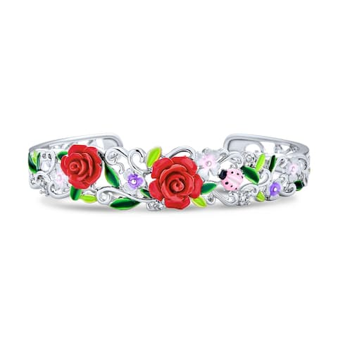 Red Rose Carved Ladybug Floral Bouquet Cuff Bracelet Silver Plated