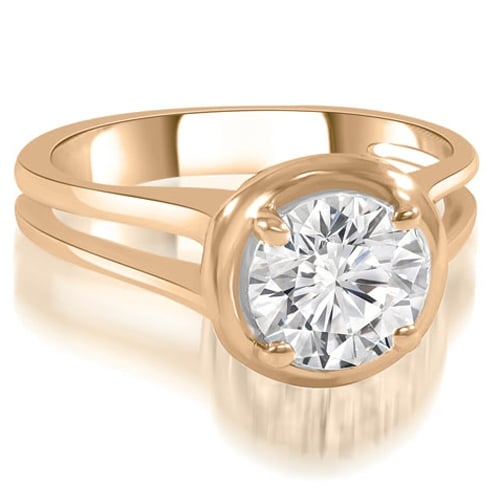 0.50 cttw. 14K Rose Gold Split Shank Halo Round Diamond Engagement Ring