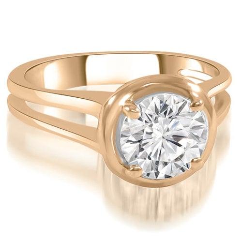 0.75 cttw. 14K Rose Gold Split Shank Halo Round Diamond Engagement Ring