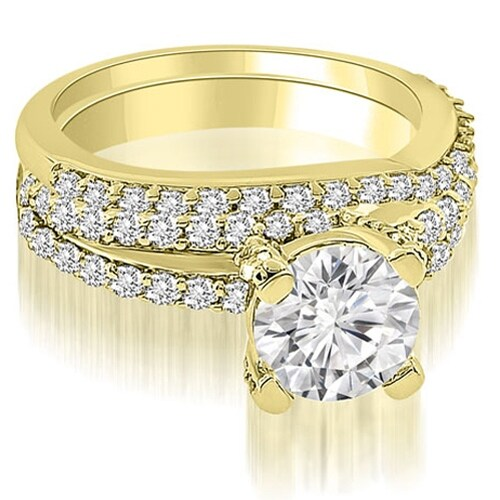 1.45 cttw. 14K Yellow Gold Two Row Lucida Round Cut Diamond Bridal Set