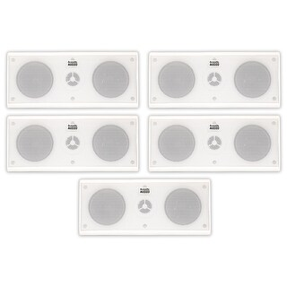 Acoustic Audio AA35CW Indoor 3 Way Speakers 2000W White 5 Speaker Set AA35CW-5S