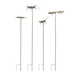 """Set of 4 Whimsical Silver Metal Oversized Insect Statuary Garden Stakes 48.25"""""""