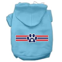 Patriotic Star Paw Screen Print Pet Hoodies Baby Blue M (12)