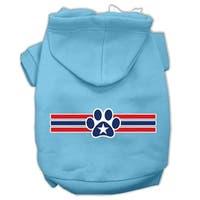 Patriotic Star Paw Screen Print Pet Hoodies Baby Blue S (10)